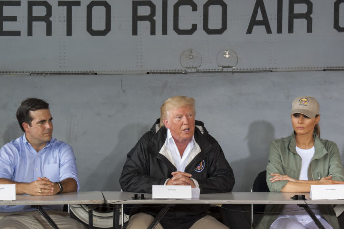 Puerto Rico Gov. Ricardo Roselló, U.S. President Donald Trump and First Lady Melania Trump