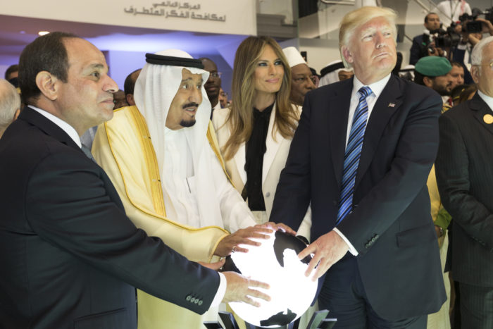 Saudi King Salman bin Abdulaziz Al Saud, Egyptian President Abdel Fattah al-Sisi, First Lady Melania Trump, and President Donald Trump in Saudi Arabia on May 21, 2017