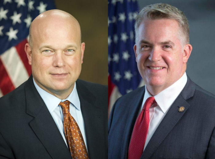 Former Acting Attorney General Matthew Whitaker, left, and U.S. Attorney John Huber