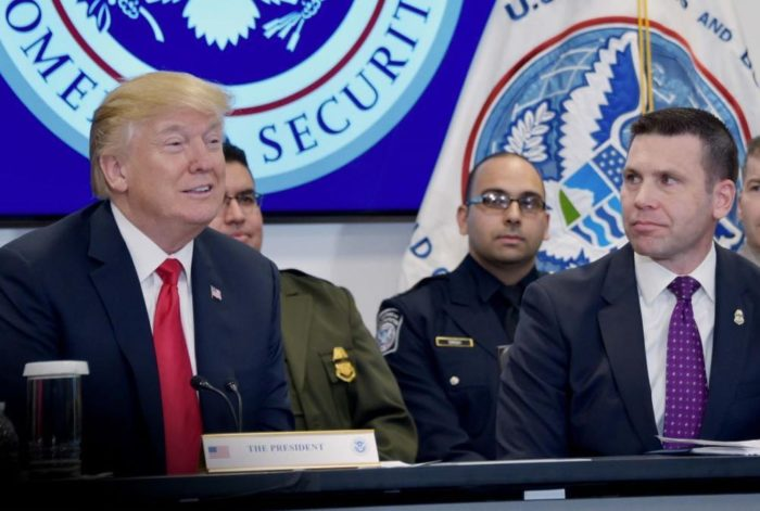 Trump with former CBP Commissioner Kevin McAleenan, who is now acting secretary of homeland security, in 2018
