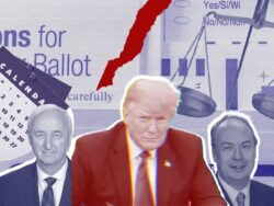 Jeffery Rosen, Donald Trump and Jeffery Clark in front of a torn stack of ballots and the scales of justice.